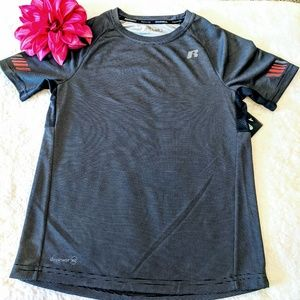 Russell athletic tee shirt top boys black gray